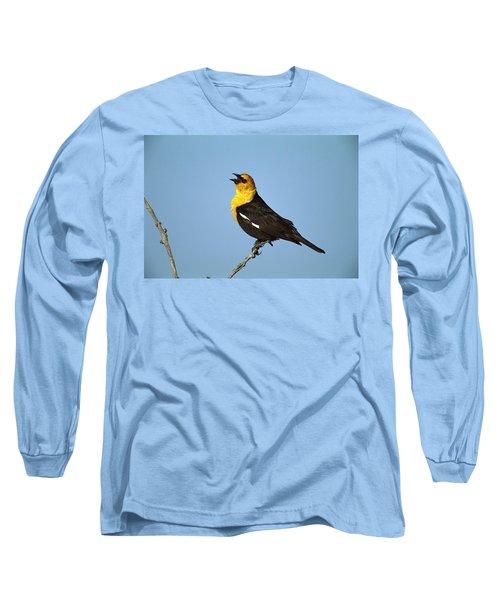 Yellow-headed Blackbird Singing Long Sleeve T-Shirt by Tom Vezo
