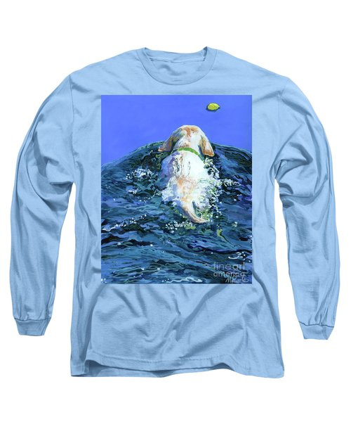 Yellow Lab  Blue Wake Long Sleeve T-Shirt by Molly Poole