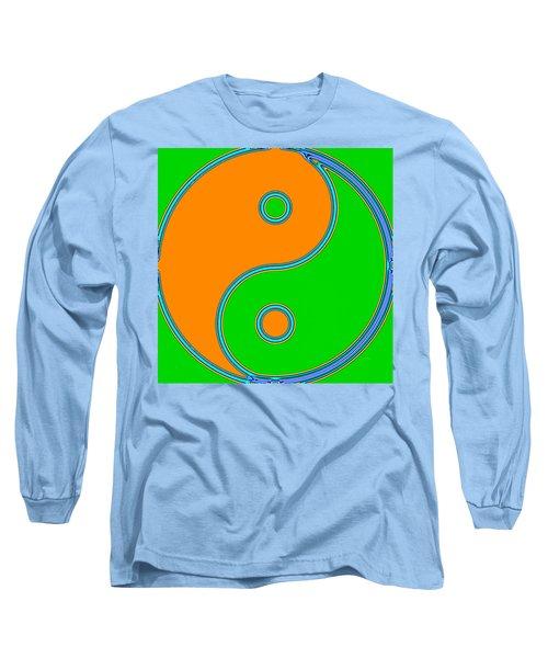 Yin Yang Orange Green Pop Art Long Sleeve T-Shirt