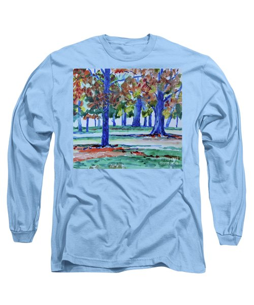 Fall In My Backyard Long Sleeve T-Shirt by Jan Bennicoff