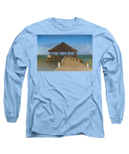 Beach Deck With Palapa Floating In The Water Long Sleeve T-Shirt