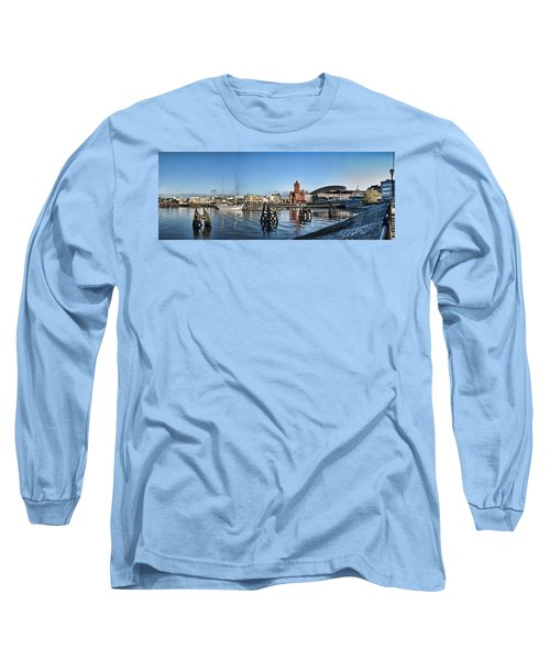 Cardiff Bay Panorama Long Sleeve T-Shirt by Steve Purnell