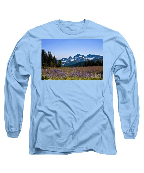 Wildflowers In The Cascades Long Sleeve T-Shirt by Ronald Lutz