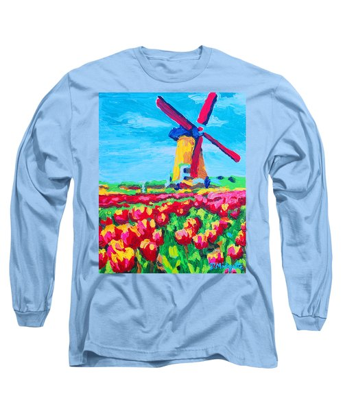 Windmill And Tulips Long Sleeve T-Shirt