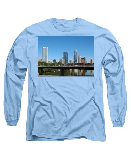 Long Sleeve T-Shirt featuring the photograph Austin Texas 2012 Skyline And Water Reflections by Connie Fox
