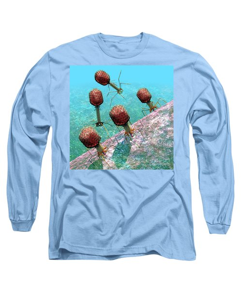 Bacteriophage T4 Virus Group 1 Long Sleeve T-Shirt by Russell Kightley