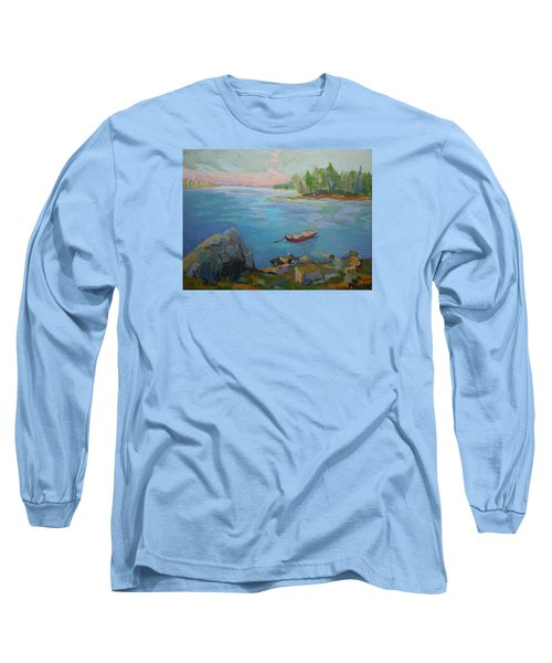 Long Sleeve T-Shirt featuring the painting Boat And Bay by Francine Frank