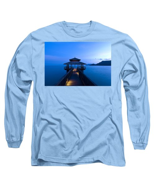 Building At The End Of A Jetty During Twilight Long Sleeve T-Shirt