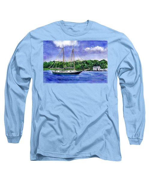 Long Sleeve T-Shirt featuring the painting Cedar Beach Schooner by Clara Sue Beym