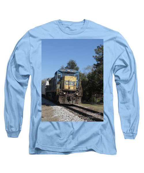 Long Sleeve T-Shirt featuring the photograph Coming Down The Track by Donna Brown