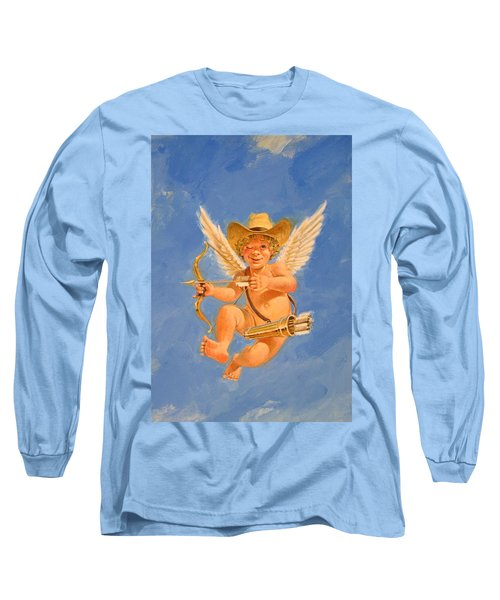 Long Sleeve T-Shirt featuring the painting Cow Kid Cupid by Cliff Spohn