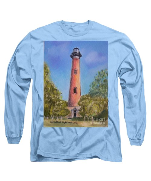Long Sleeve T-Shirt featuring the pastel Currituck Lighthouse Nc by Julie Brugh Riffey