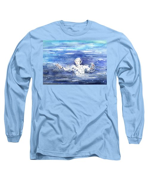 David Bowie In Ashes To Ashes Long Sleeve T-Shirt by Miki De Goodaboom