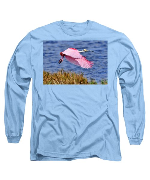 Flight A Roseate Spoonbill Long Sleeve T-Shirt