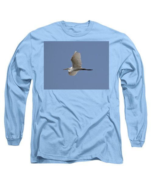 Long Sleeve T-Shirt featuring the photograph Flying Egret by Jeannette Hunt