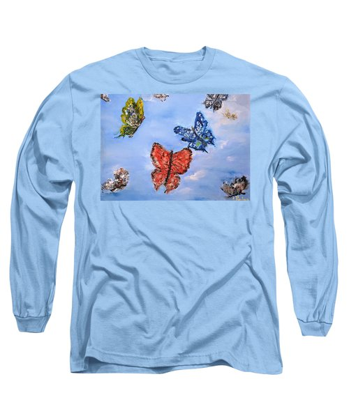 Long Sleeve T-Shirt featuring the painting Flying by Evelina Popilian