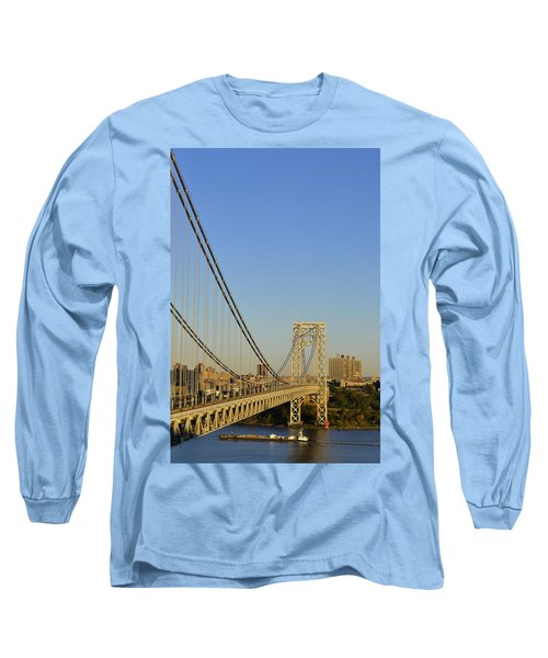 Long Sleeve T-Shirt featuring the photograph George Washington Bridge And Boat by Zawhaus Photography