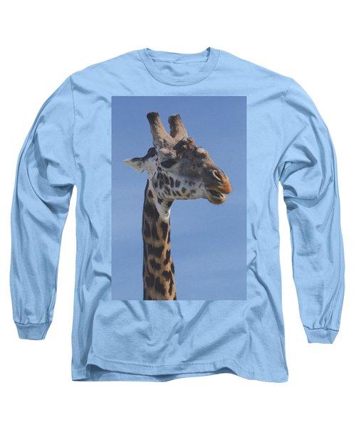Giraffe Headshot Long Sleeve T-Shirt by Tom Wurl