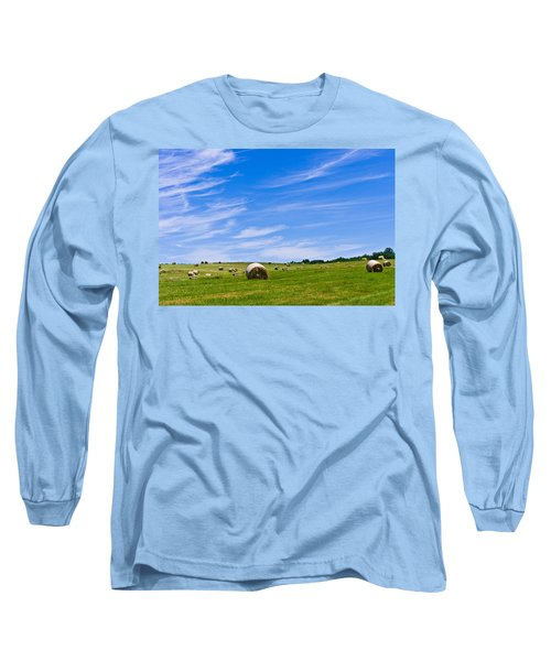 Hay Bales Under Brilliant Blue Sky Long Sleeve T-Shirt