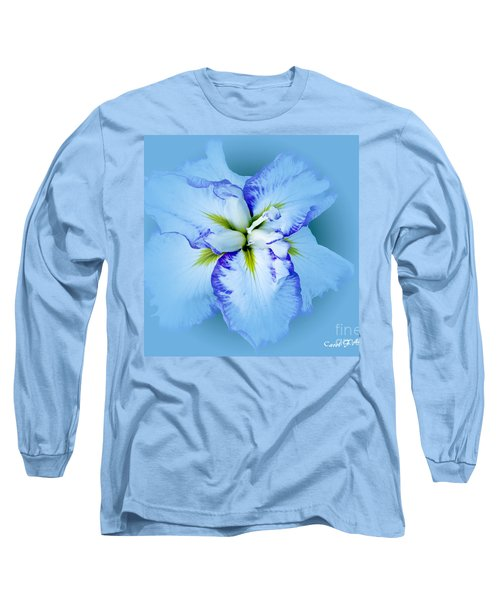 Iris In Blue Long Sleeve T-Shirt by Carol F Austin