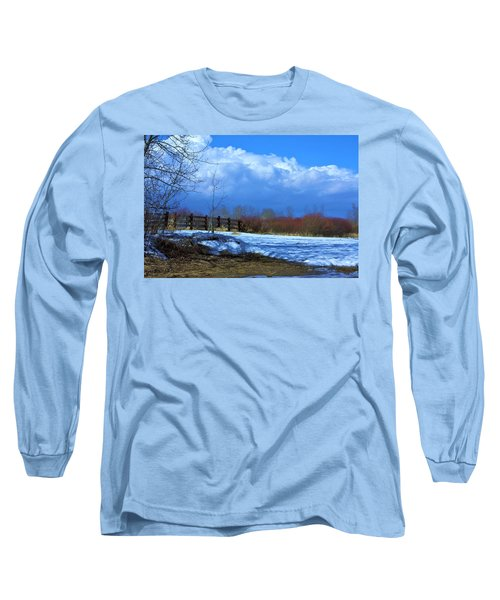 Long Sleeve T-Shirt featuring the photograph Landscape  Snow Scene by Johanna Bruwer