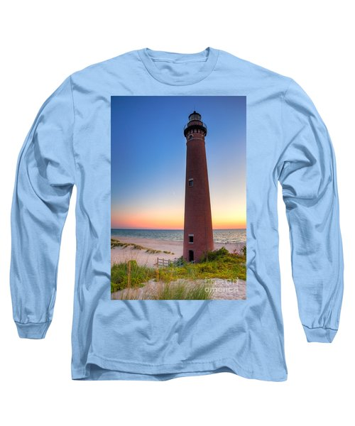Little Sable Point Light Station Long Sleeve T-Shirt by Larry Carr