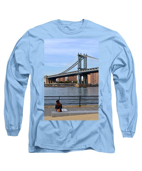 Long Sleeve T-Shirt featuring the photograph Manhattan Bridge2 by Zawhaus Photography