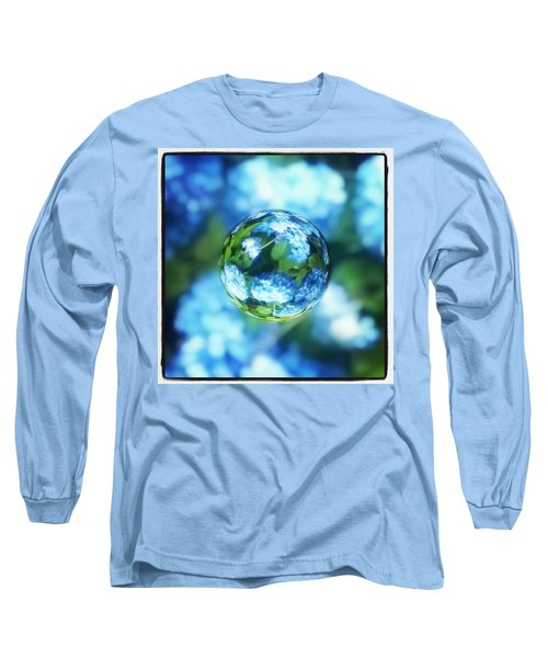 Marbled Blue Hydrangea Long Sleeve T-Shirt