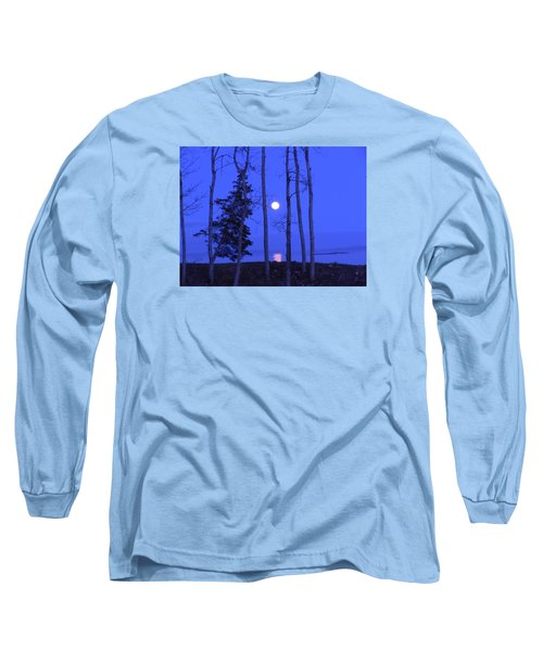 May Moon Through Birches Long Sleeve T-Shirt