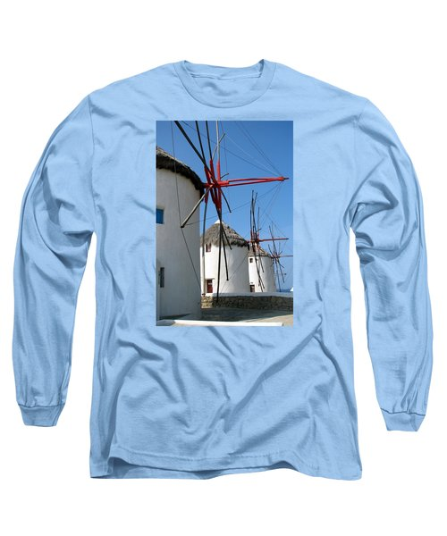 Long Sleeve T-Shirt featuring the photograph Mykonos Windmills by Carla Parris
