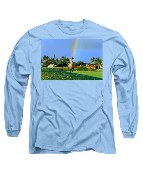 Nene At The End Of The Rainbow Long Sleeve T-Shirt by Lynn Bauer