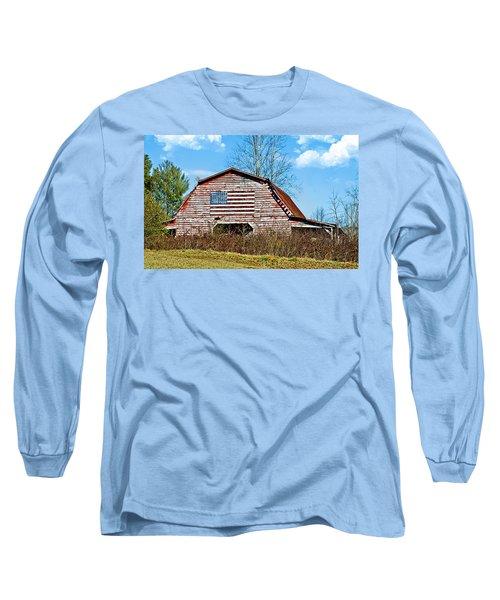 Patriotic Barn Long Sleeve T-Shirt by Susan Leggett