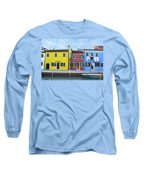 Long Sleeve T-Shirt featuring the photograph Primary Colors In Burano Italy by Rebecca Margraf