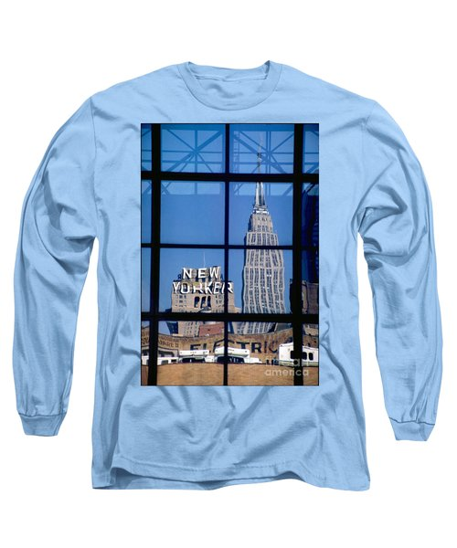 Reflection Empire State Building Long Sleeve T-Shirt by Mark Gilman