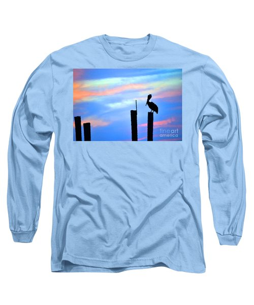 Long Sleeve T-Shirt featuring the photograph Reflections In Water With Pelican by Dan Friend