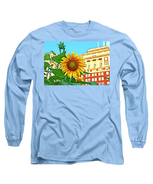 Long Sleeve T-Shirt featuring the photograph Sunflower In The City by Alice Gipson