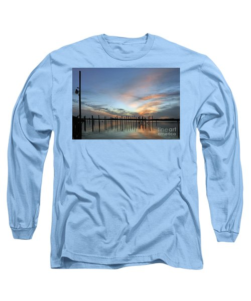 Long Sleeve T-Shirt featuring the photograph sunset marina Everglades by Dan Friend