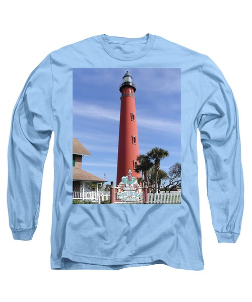 Towering Lighthouse Long Sleeve T-Shirt by Barbara Middleton