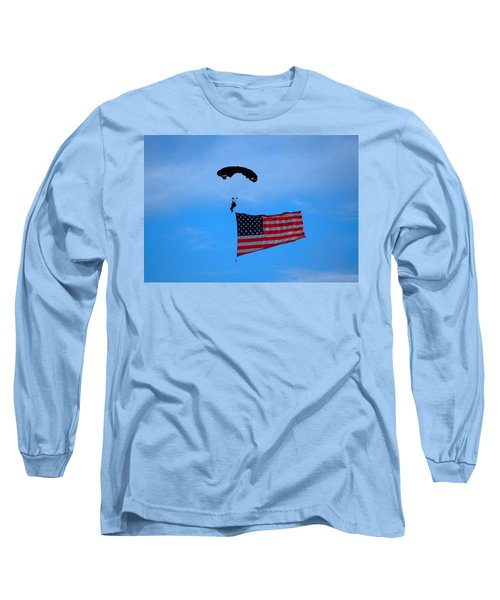 A Skydiver With An American Flag  Long Sleeve T-Shirt