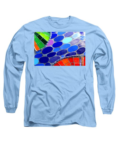 Mosaic Abstract Of The Blue Green Red Orange Stones Long Sleeve T-Shirt by Michael Hoard