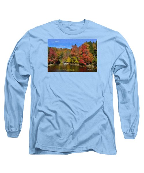 Long Sleeve T-Shirt featuring the painting A Little Piece Of Adirondack Heaven by Diane E Berry