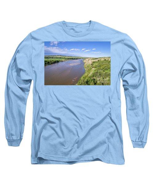 aerial view of Niobrara River in Nebraska Sand Hills Long Sleeve T-Shirt