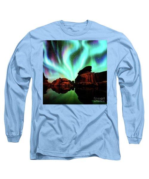 Aurora Over Lagoon Long Sleeve T-Shirt