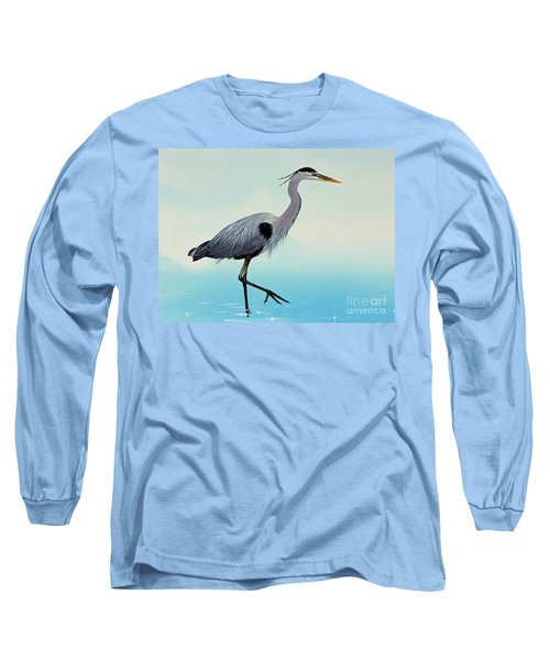 Long Sleeve T-Shirt featuring the painting Blue Water Heron by James Williamson