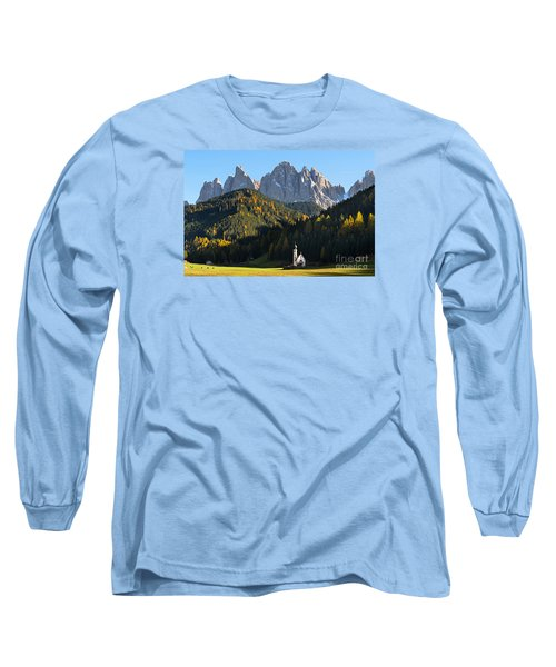 Dolomites Mountain Church Long Sleeve T-Shirt by IPics Photography