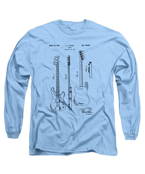 Fender Bass Guitar Patent-1953 Long Sleeve T-Shirt by Barry Jones