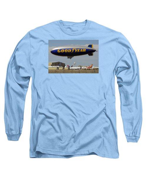 Goodyear Blimp Spirit Of Innovation Goodyear Arizona September 13 2015 Long Sleeve T-Shirt by Brian Lockett