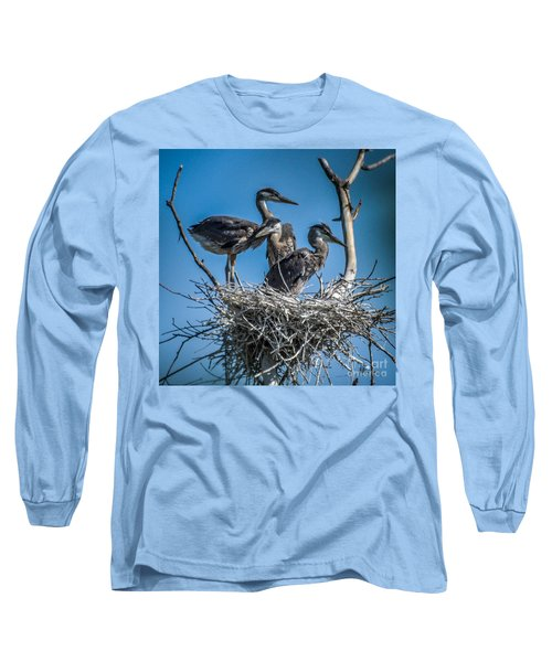 Great Blue Heron On Nest Long Sleeve T-Shirt