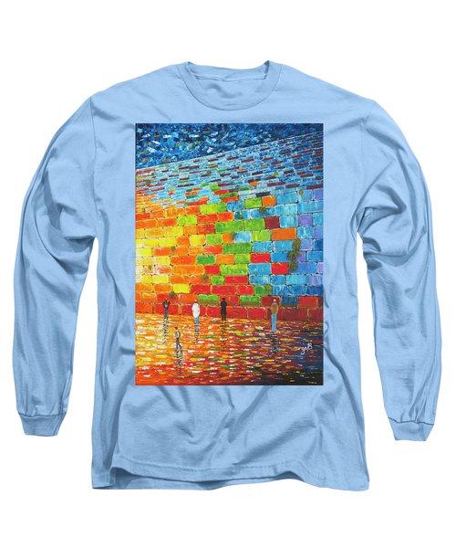 Long Sleeve T-Shirt featuring the painting Jerusalem Wailing Wall Original Acrylic Palette Knife Painting by Georgeta Blanaru