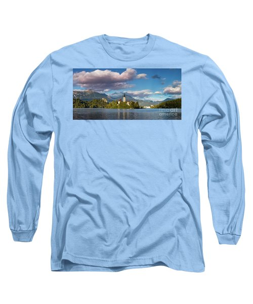 Long Sleeve T-Shirt featuring the photograph Lake Bled Panoramic by Brian Jannsen